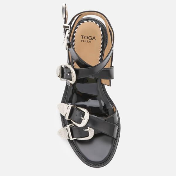 f109a1e405de Toga Pulla Women s Leather Strappy Flat Sandals - Black  Image 3