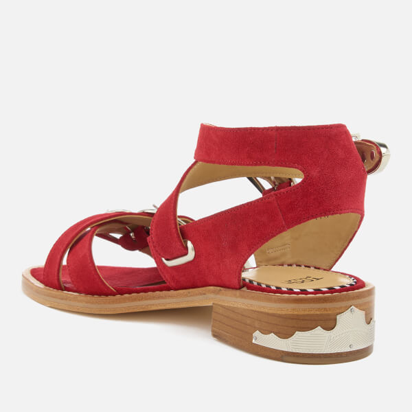 23b8609068ab72 Toga Pulla Women s Suede Strappy Flat Sandals - Red  Image 2