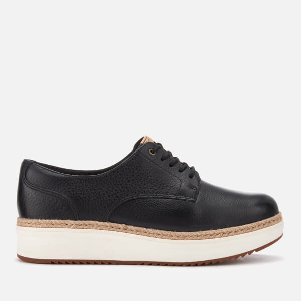 Clarks Women's Teadale Rhea Leather Flatform Oxford Shoes - Black