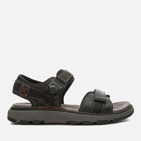 Clarks Men's Un Trek Part Leather Sandals - Black