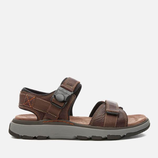 6f711bddd Clarks Men s Un Trek Part Leather Sandals - Dark Tan