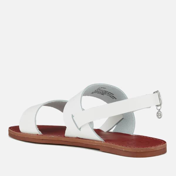 Dune Women S Lowpez Leather Double Strap Flat Sandals