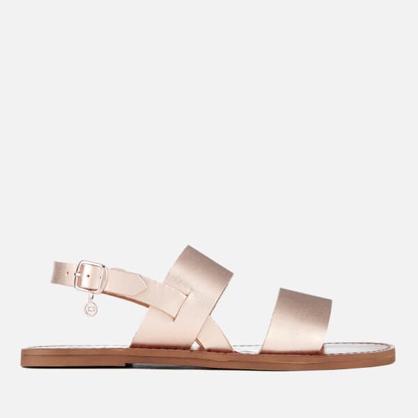 dda076bf2f9976 Dune Women s Lowpez Leather Double Strap Flat Sandals - Rose Gold ...