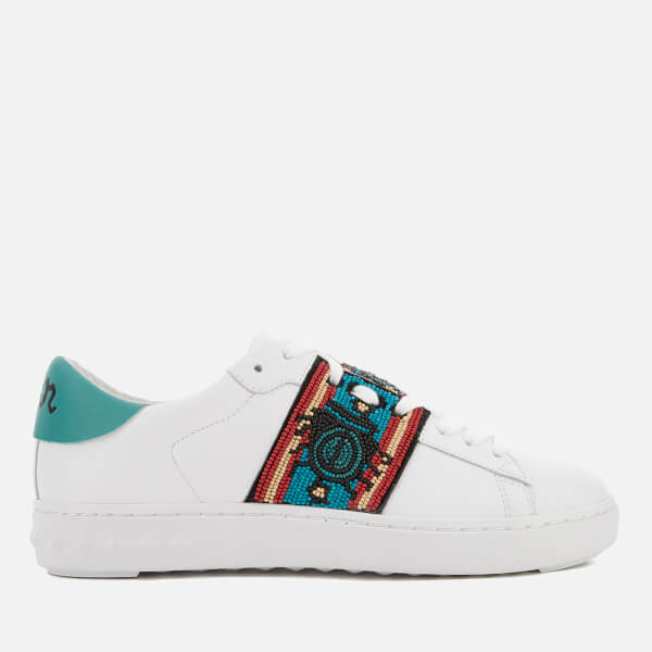 Ash Women's Phantom Nappa Leather Cupsole Trainers - White/Turquoise