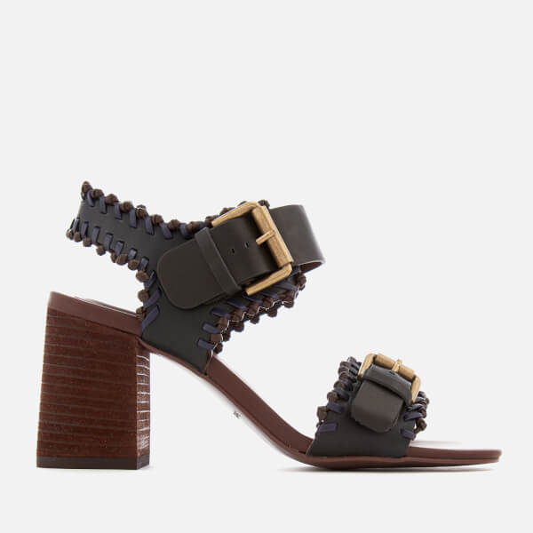 See By Chloé Women's Leather Blocked Heeled Sandals - Black
