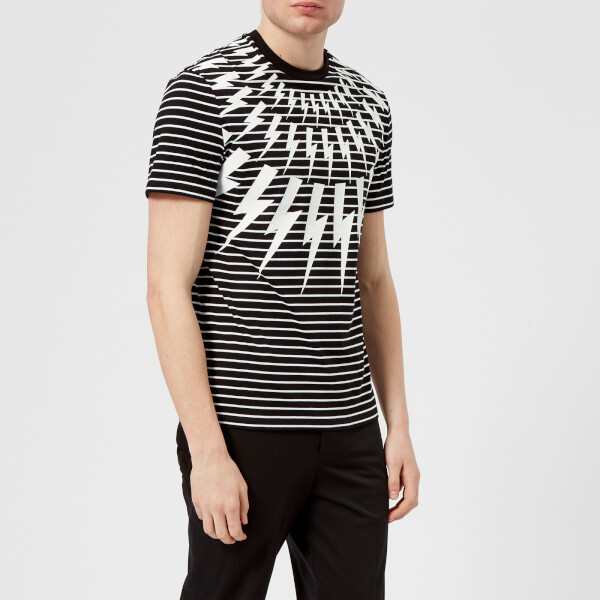 Neil Barrett Men's Fairisle Thunderbolt Striped T-Shirt - Black/White