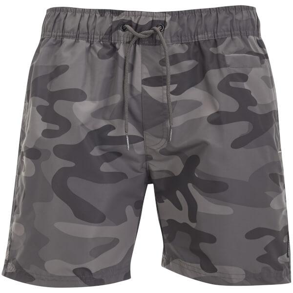 Crosshatch Men's Camo Swim Shorts - Charcoal Camo
