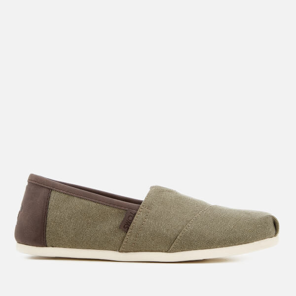 TOMS Men's Alpargata Washed Canvas Slip-On Pumps - Olive/Trim