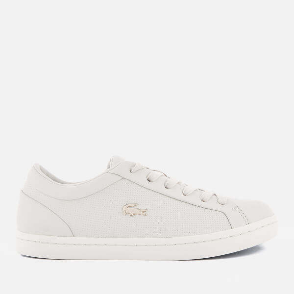 2a5a74f7a Lacoste Women s Straightset 118 2 Leather Cupsole Trainers - Off White Light  Blue