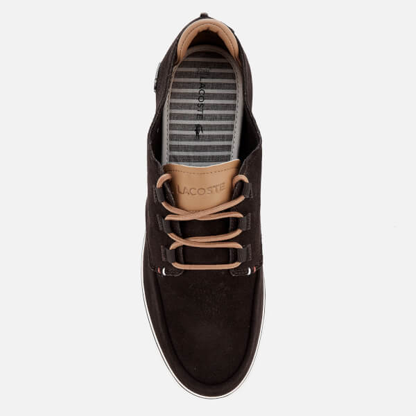 ddd7cc8629bc1 Lacoste Men s Esparre Deck 118 1 Suede Boat Shoes - Dark Brown Light Brown