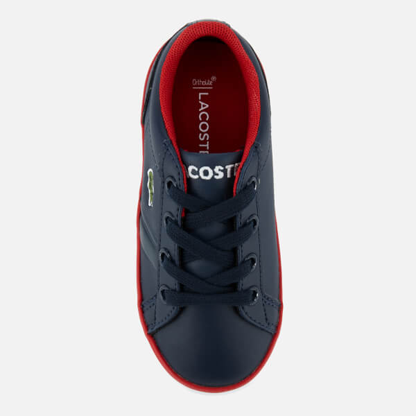 41ff28c2e39603 Lacoste Toddlers  Lerond 218 2 Trainers - Navy Red  Image 3