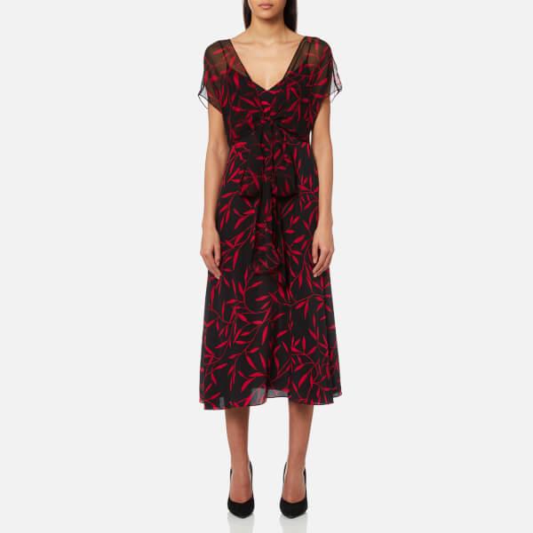 Diane von Furstenberg Women's Overlay Front Tie Dress - Shelton Black