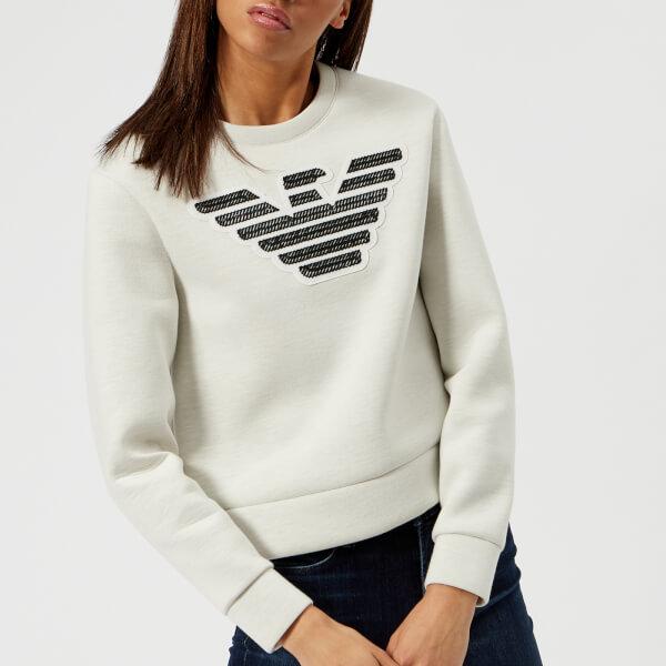 Uk Women's Large Grey Sweatshirt Eagle Logo Emporio Armani Free 4x6q7