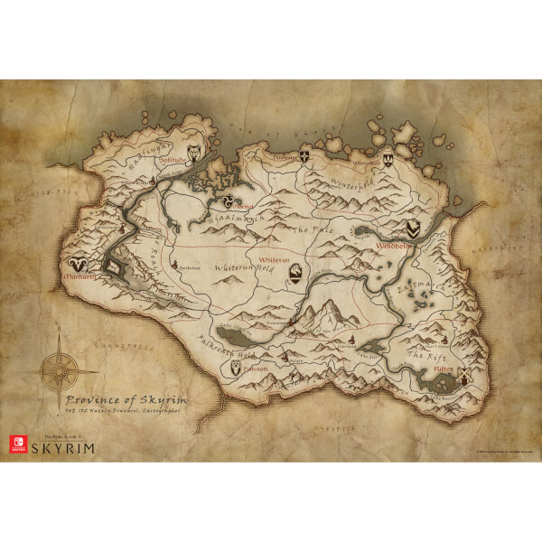 The elder scrolls v skyrim map of skyrim poster nintendo the elder scrolls v skyrim map of skyrim poster image 3 gumiabroncs Image collections