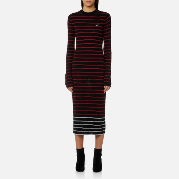 Mcq Alexander Mcqueen Women S Striped Knitted Dress Black Amp Red White Image