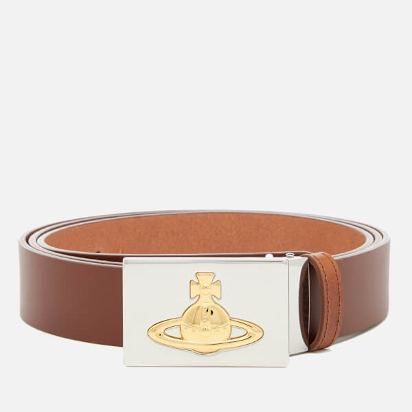 Vivienne Westwood Men's Square Buckle Gold Belt - Tan