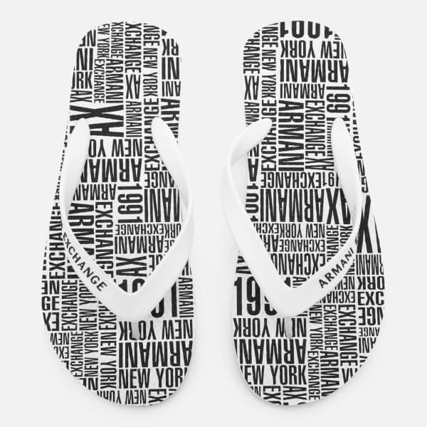 Armani Exchange Men's AX Flip Flops - Typography White