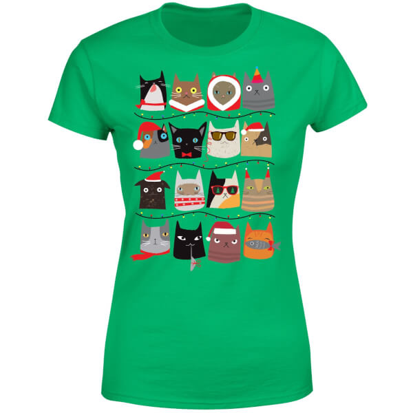 Christmas Cats Women's T-Shirt - Kelly Green
