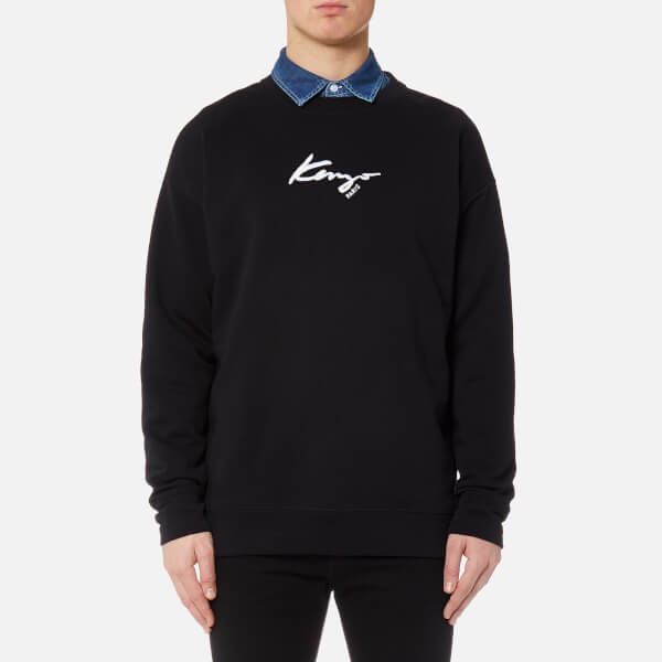 KENZO Men's Small Logo Sweater with Poplin - Black
