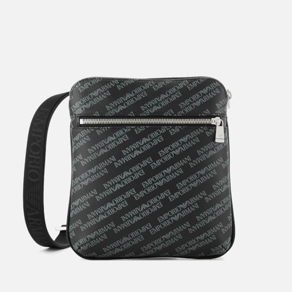 Emporio Armani Men s Small Flat Messenger Bag - Lavagna Nero  Image 1 9be720325ba41