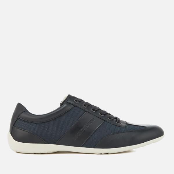Emporio Armani Men's Leather Derby Action Shoes - Blue