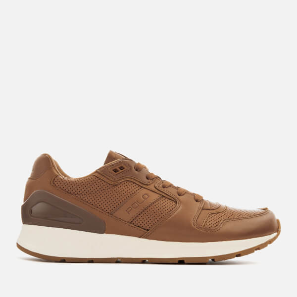 Polo Ralph Lauren Men's Train 100 Burnished Leather Runner Trainers - Polo Tan