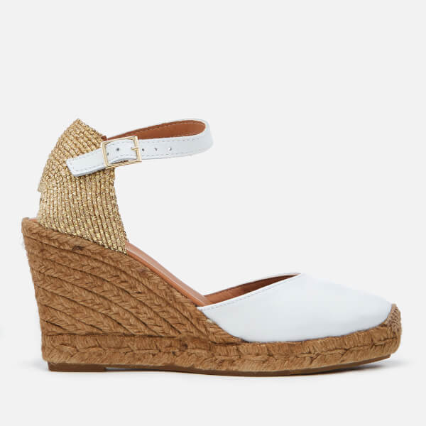 Kurt Geiger London Women's Monty Leather Wedged Espadrilles - White