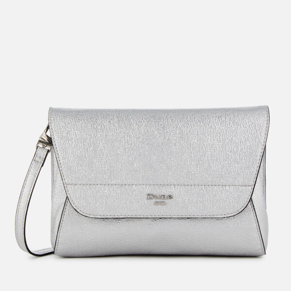 Dune Women s Ellanaa Flap Over Clutch Bag - Silver  Image 1 afed57623bd41