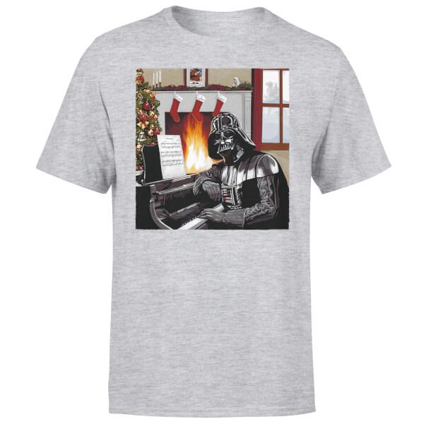 Star Wars Christmas Darth Vader Piano Player Grey T-Shirt