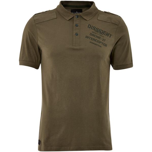 Dissident Men's Mazo Shoulder Panel Polo Shirt - Amazon Khaki