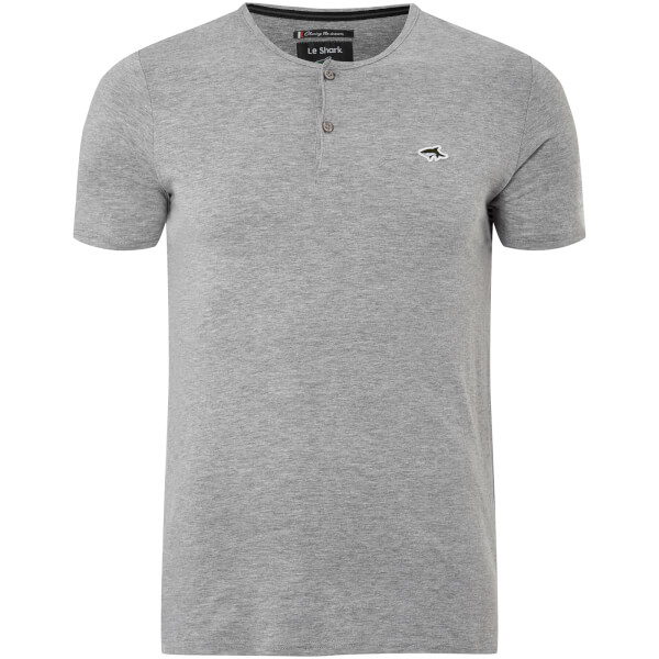 Le Shark Men's Cook Button Neck T-Shirt - Light Grey Marl