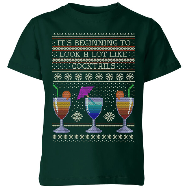 Its Beginning To Look A Lot Like Cocktails Kids' T-Shirt - Forest Green