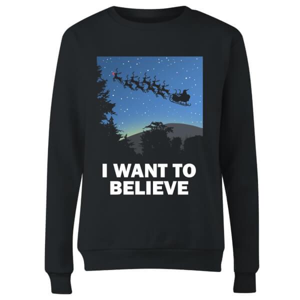 I Want To Believe Women's Sweatshirt - Black