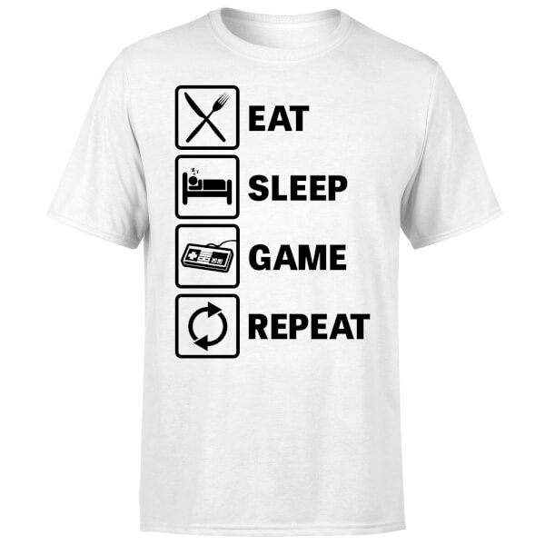 Eat Sleep Game Repeat T-Shirt - White