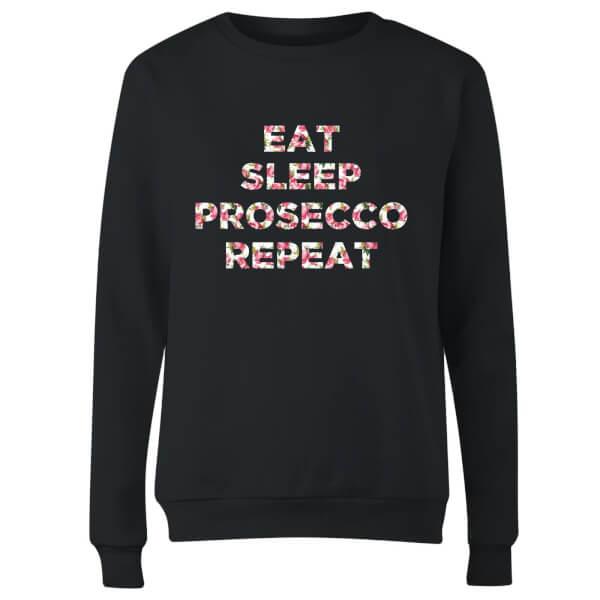 Eat Sleep Prosecco Repeat Women's Sweatshirt - Black