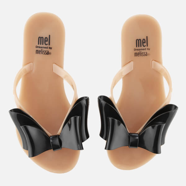 Mini Melissa Kids' Harmonic Tie Bow Toe Post Sandals - Nude/Black