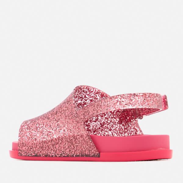 Mini Melissa Toddlers Beach Slide Sandals Pink Glitter