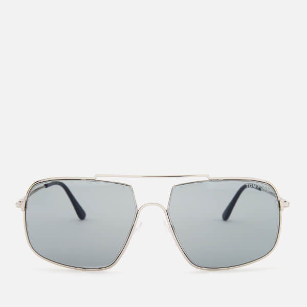 0553d5ec39dd Tom Ford Men s Aiden Aviator Style Sunglasses - Shiny Palladium Smoke   Image 1