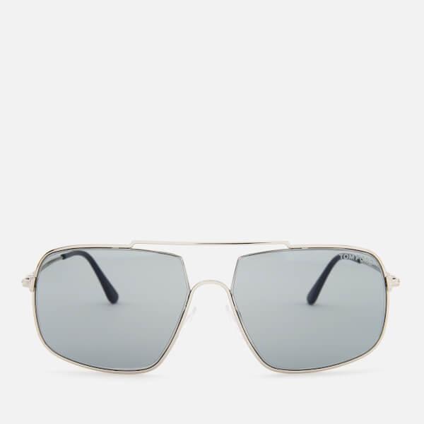Tom Ford Men's Aiden Aviator Style Sunglasses - Shiny Palladium/Smoke