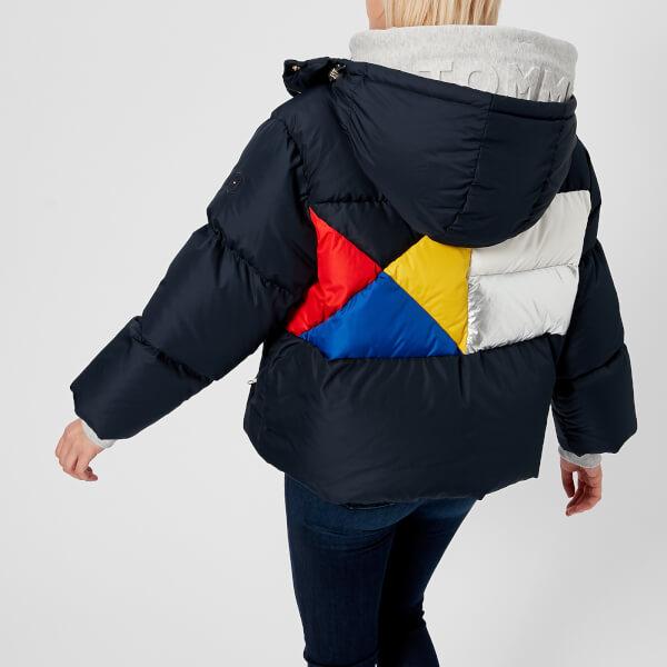 f9ed3c808b5 Tommy Hilfiger Women s Ivan Colourblock Super Down Jacket - Peacoat Multi   Image 1