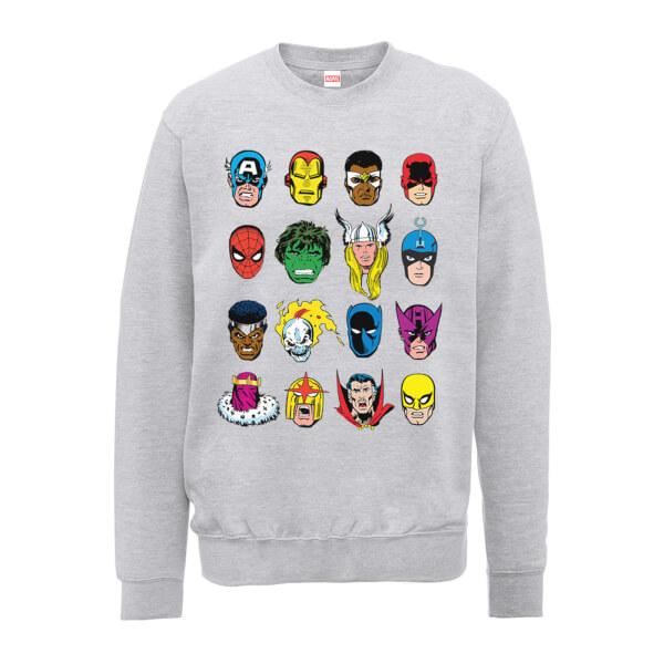 Marvel Comics Faces Colour Men's Grey Sweatshirt