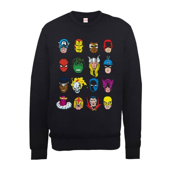 Marvel Comics Faces Colour Men's Black Sweatshirt
