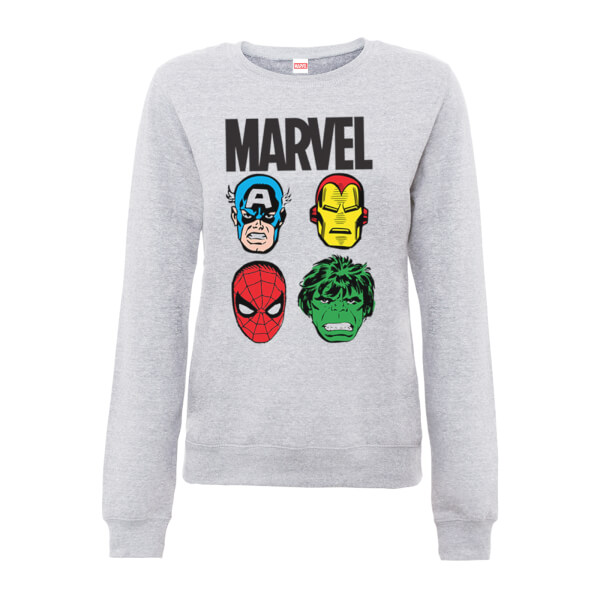 Marvel Comics Main Character Faces Women's Grey Sweatshirt