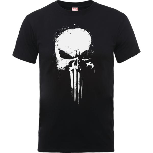 Marvel The Punisher Paintspray Men's Black T-Shirt