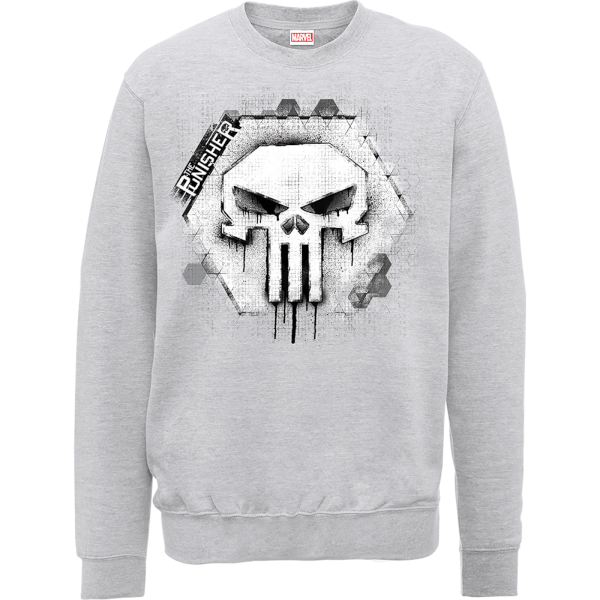 Marvel The Punisher Skull Badge Logo Grey Men's Sweatshirt
