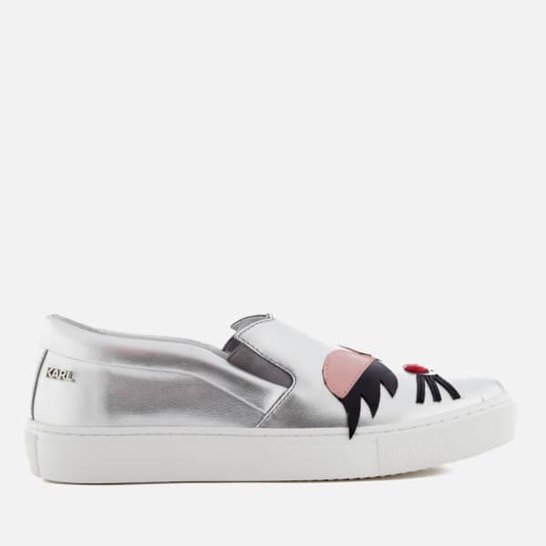 5ce513ec77 Karl Lagerfeld Women s Kupsole Choupette Lash Leather Slip On Trainers -  Silver