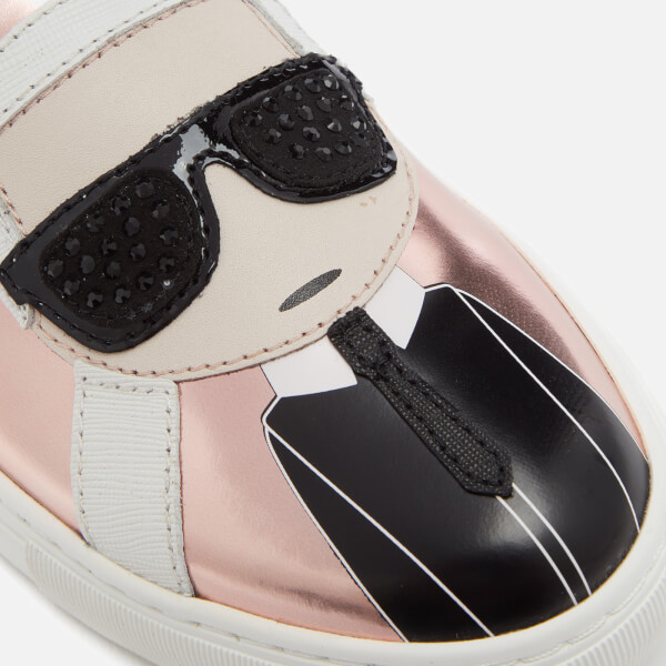 84febd562ca Karl Lagerfeld Women s Kupsole Leather Karl Ikonic Slip-On Trainers - Rose  Gold Mirror