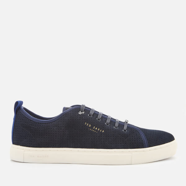 Ted Baker Men's Kaliix Perforated Suede Low Top Trainers - Dark Blue