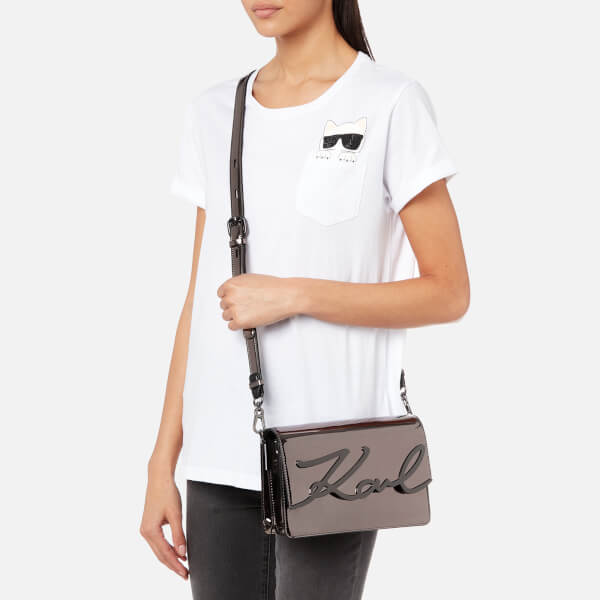 825823d2e165 Karl Lagerfeld Women s K Signature Gloss Shoulder Bag - Nickel  Image 3