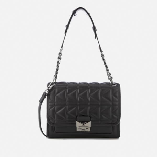 Karl Lagerfeld Women's K/Kuilted Handbag - Black/Gun metal
